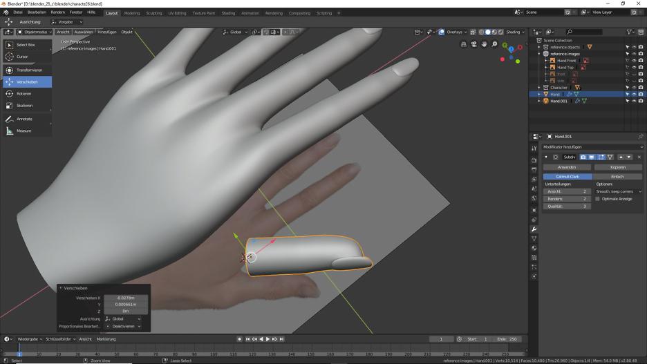 3D Modellierung eines Daumen