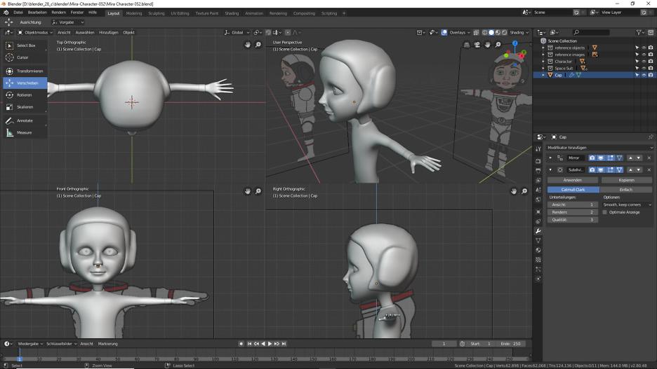 3D Modellierung einer Astronautin mit Blender 1
