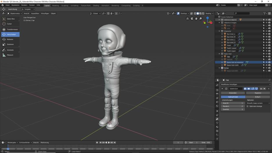Gestaltung einer Astronautin in Blender