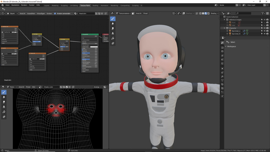 Erstellung der Texturierung vom Gesicht in Blender