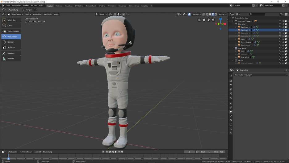 Texturierung unserer Astronautin