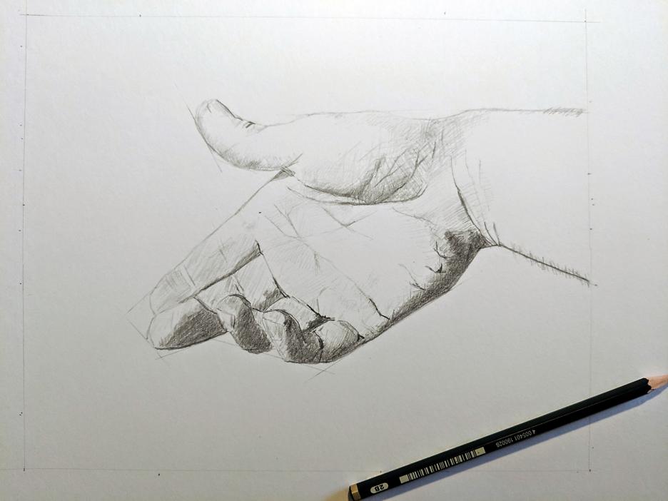 Bleistiftzeichnung einer Hand
