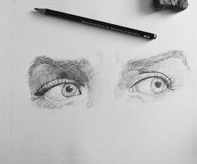 Bleistiftzeichnung: Augen