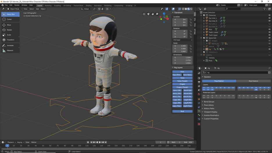 Das Rigging ist eine Arbeitstechnik im Bereich der 3D-Animation.