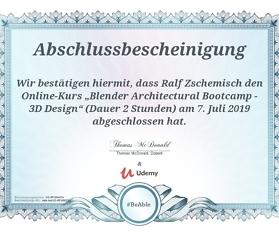 Abschlussbescheinigung: Blender Architectural Bootcamp – 3D Design