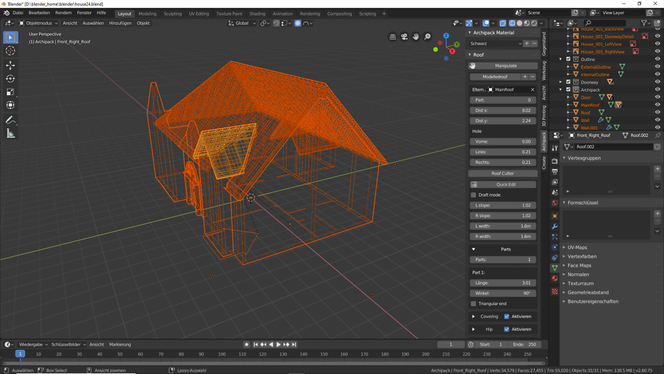 Blender 2.80: Dachkonstruktion