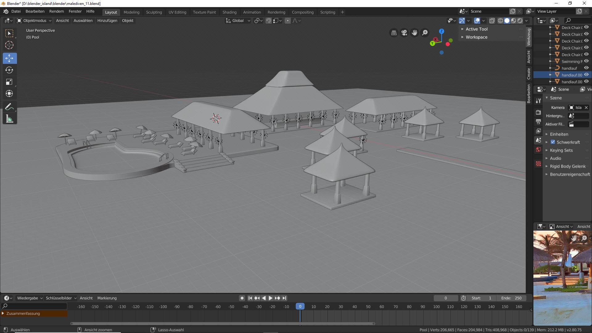 Malediven in 3D modellieren