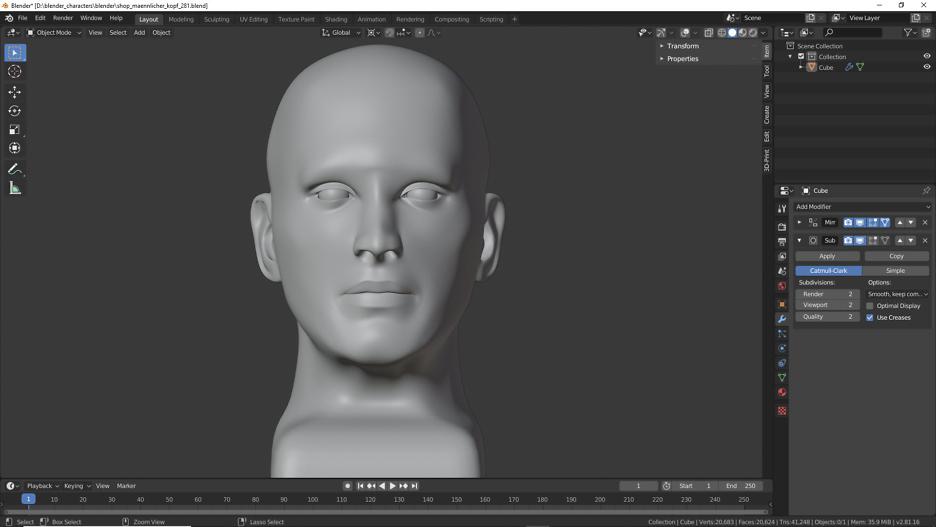 Kopf in Blender 2.81