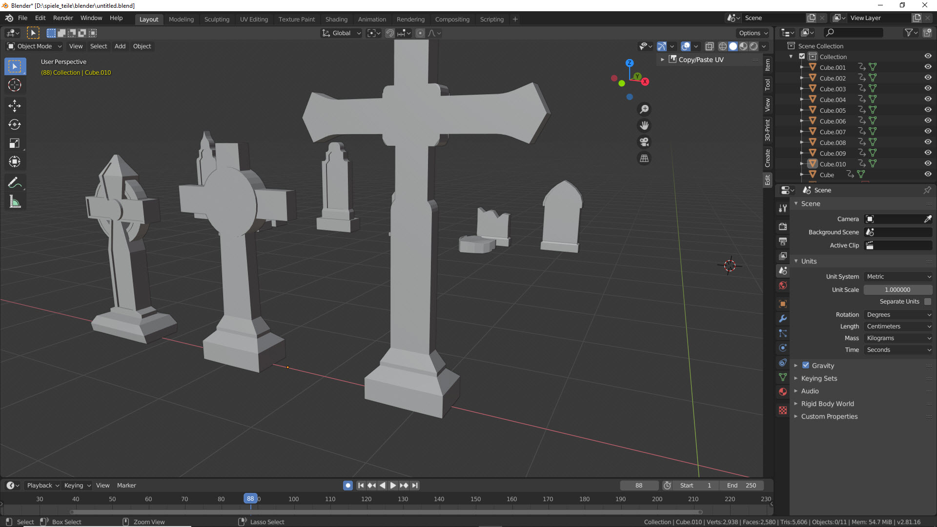 Modellierung der Grabsteine