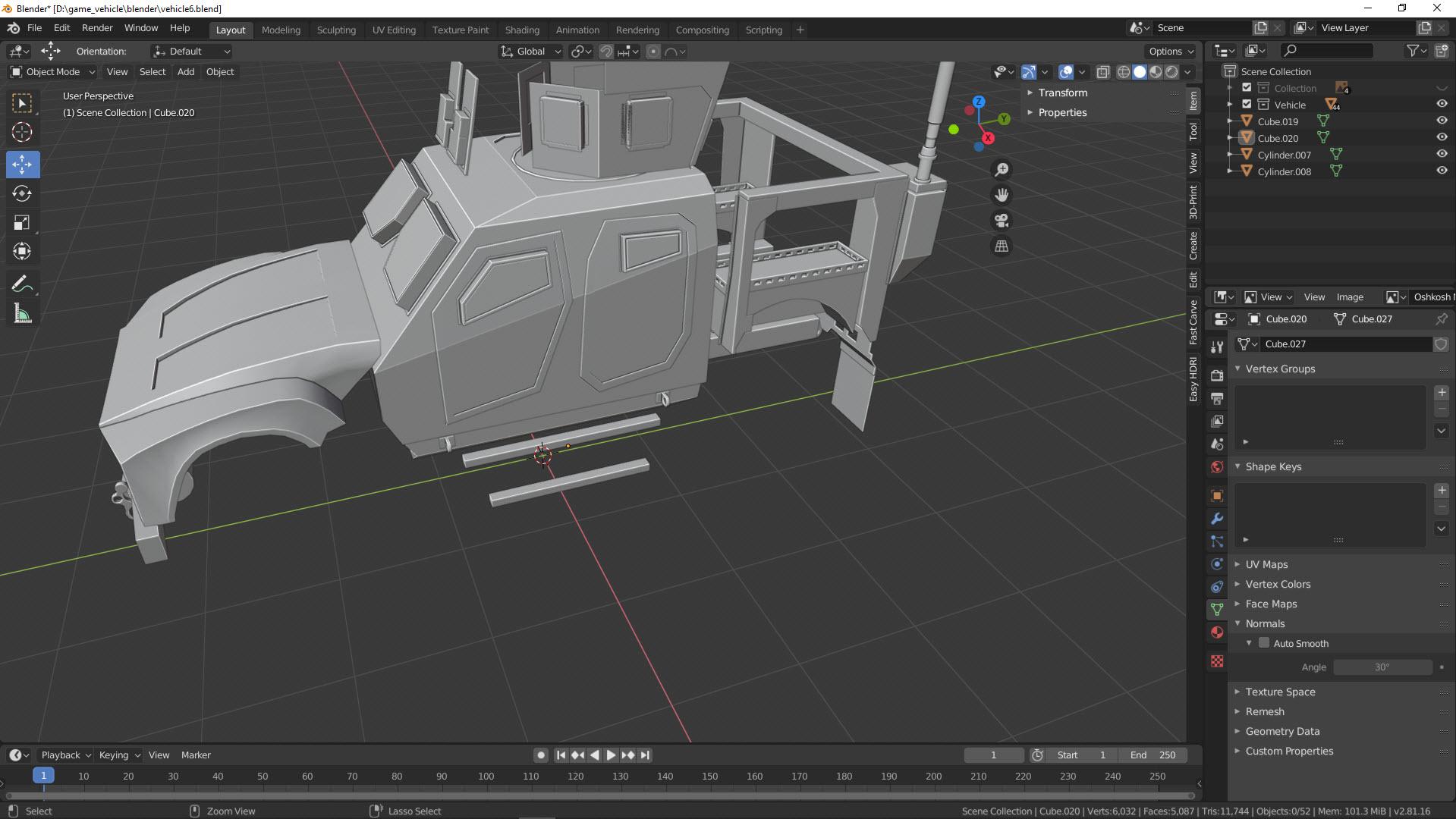 Blender 2.8.1 Game Vehicle Creation