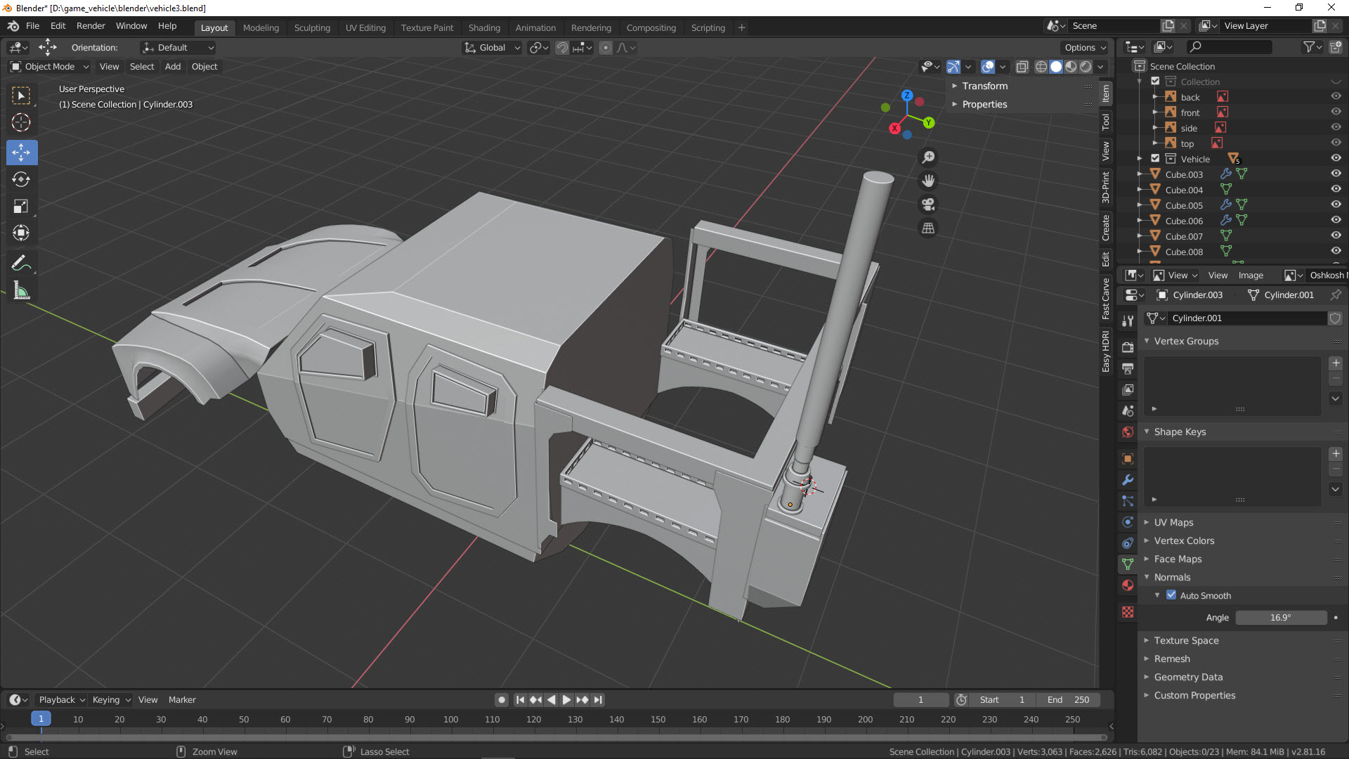 Blender 2.8.1 Game Vehicle Creation