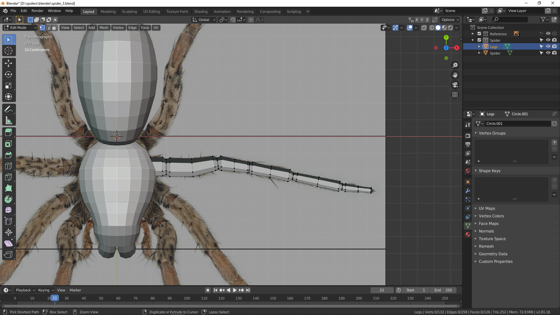 3D Modellierung einer Spinne in Blender Bild 10