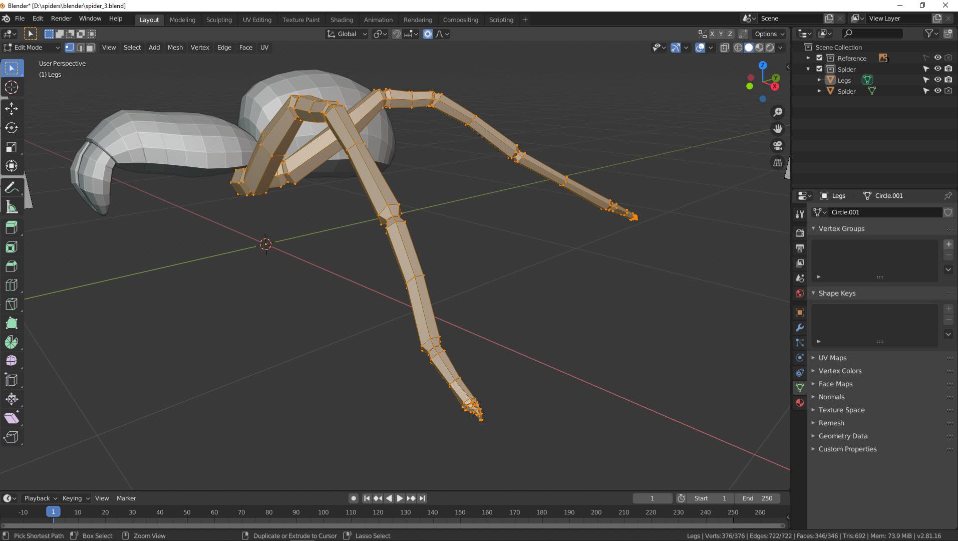 3D Modellierung einer Spinne in Blender Bild 12