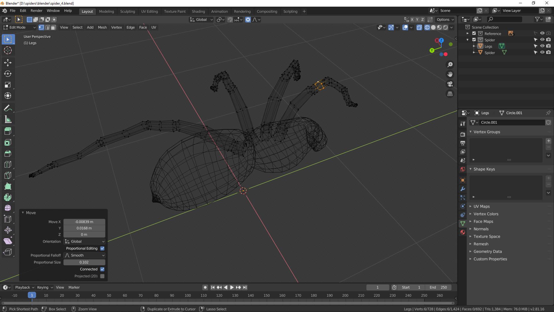 3D Modellierung einer Spinne in Blender Bild 14
