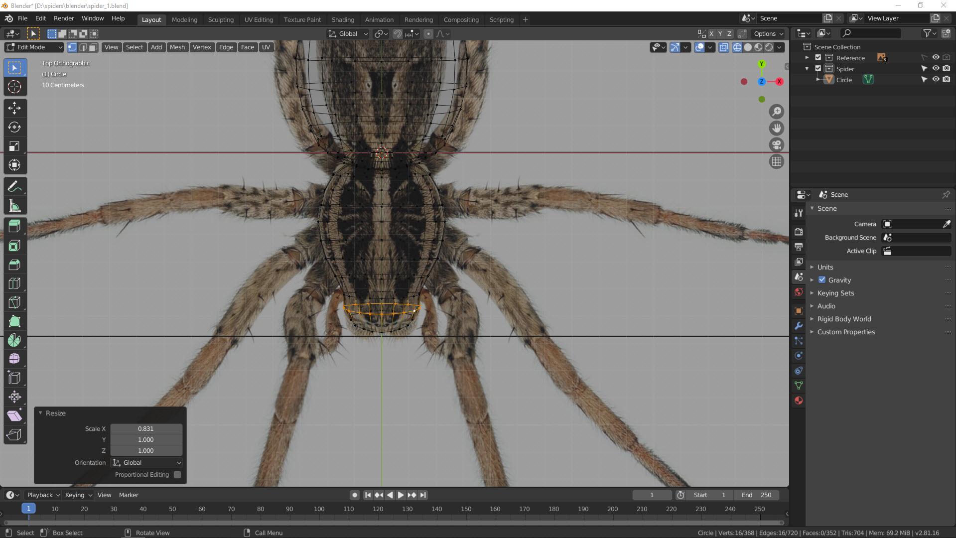 3D Modellierung einer Spinne in Blender Bild 3