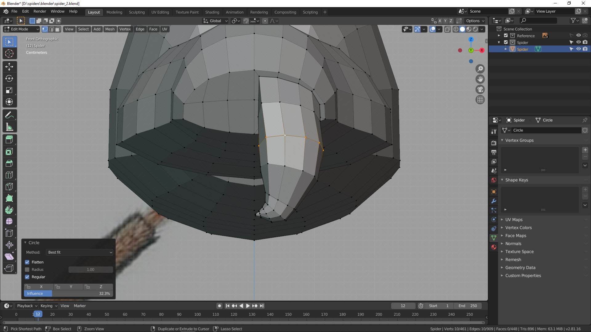 3D Modellierung einer Spinne in Blender Bild 5
