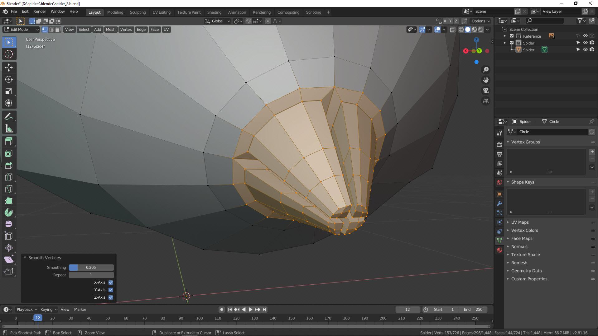 3D Modellierung einer Spinne in Blender Bild 8