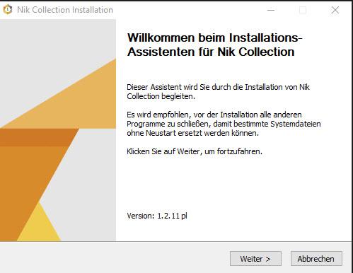 Willkommen beim Installations-Assistenten für Nik Collection.