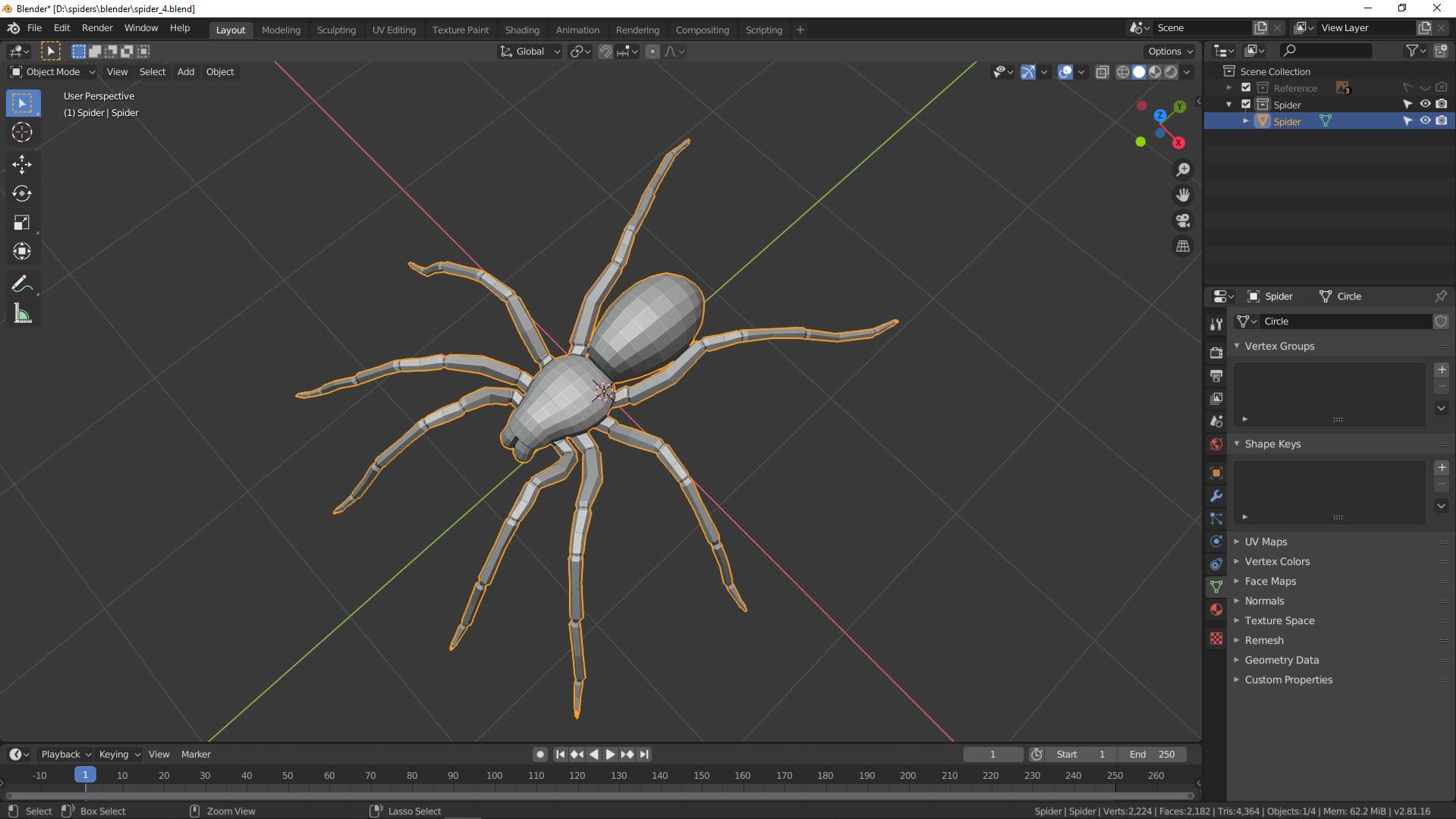 3D Modellierung einer Spinne in Blender Bild 17