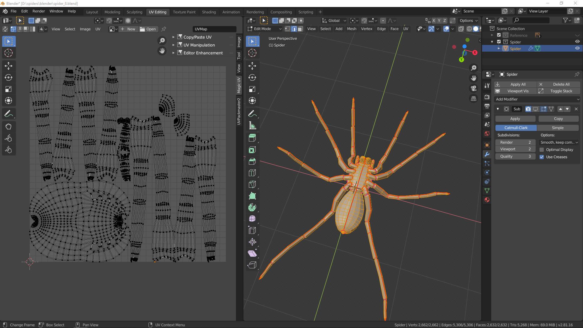 UV-Mapping einer Spinne Bild 2