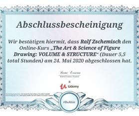 Meine Abschlussbescheinigung für den Kurs The Art & Science of Figure Drawing: VOLUME & STRUCTURE