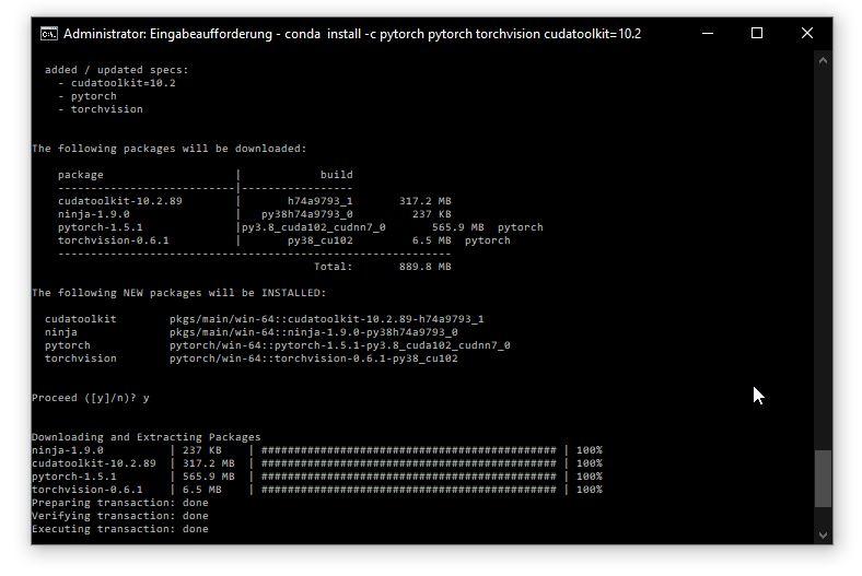 conda install -c pytorch pytorch torchvision cudatoolkit=10.2