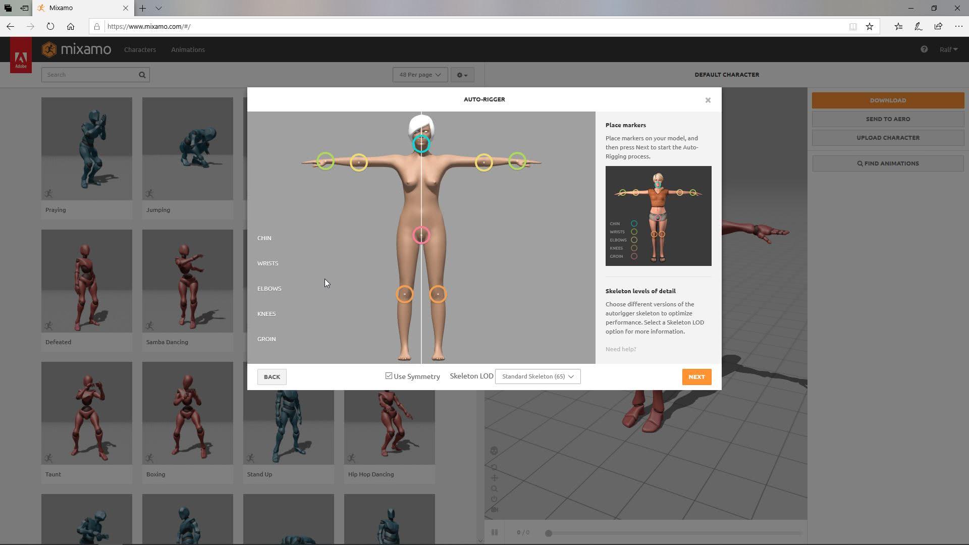 Punkte einer Figur werden auf dem 3D Modell markiert