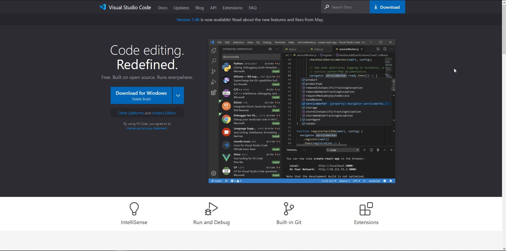 Visual Studio Code download von der Website.