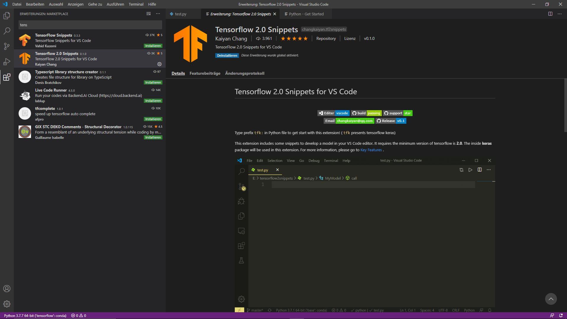 Erweiterung Tensorflow 2.0