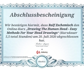 "Meine Abschlussbescheinigung für den Kurs ""Drawing The Human Head – Easy Methods For Your Head Drawings"""