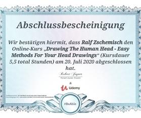 "Meine Abschlussbescheinigung für den Kurs ""Drawing The Human Head – Easy Methods For Your Head Drawings"""