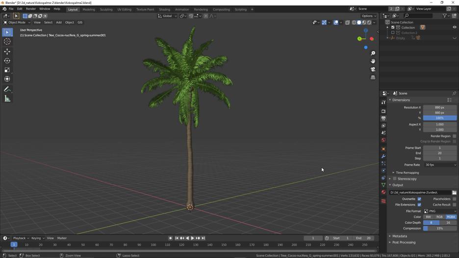 Die Kokospalme in Blender