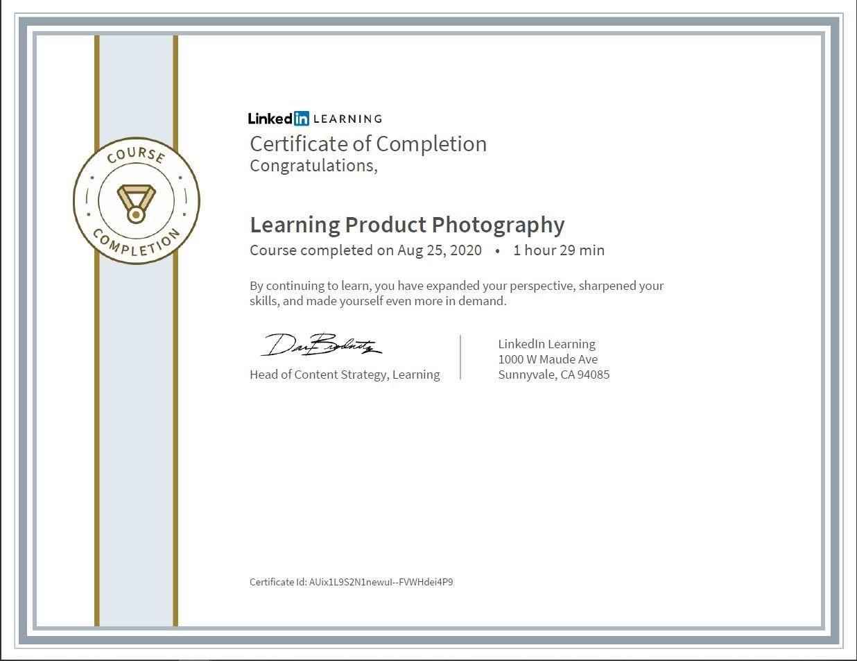 """Meine Abschlussbescheinigung für den Kurs """"Learning Product Photography"""""""