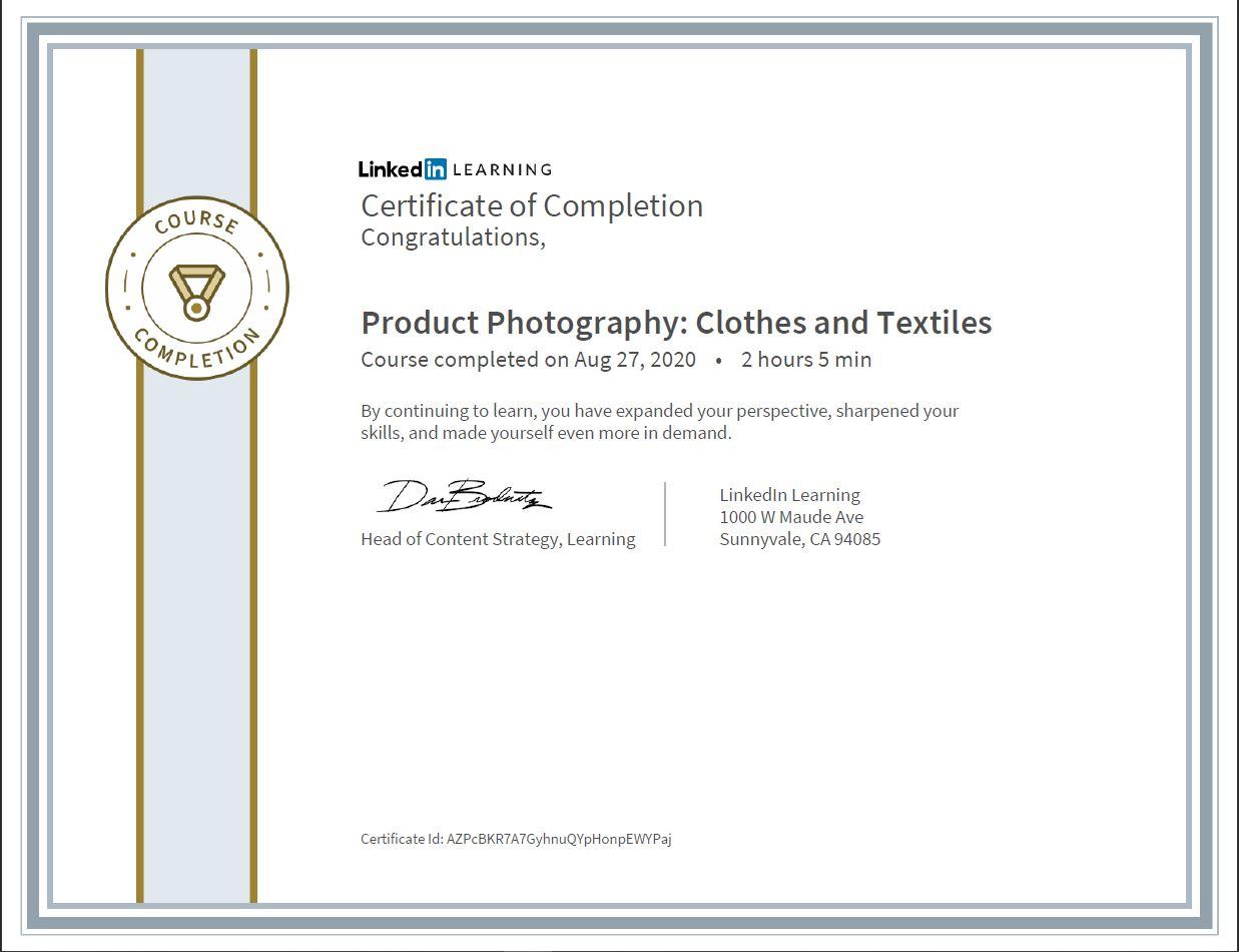 """Meine Abschlussbescheinigung für den Kurs """"Product Photography: Clothes and Textiles"""""""