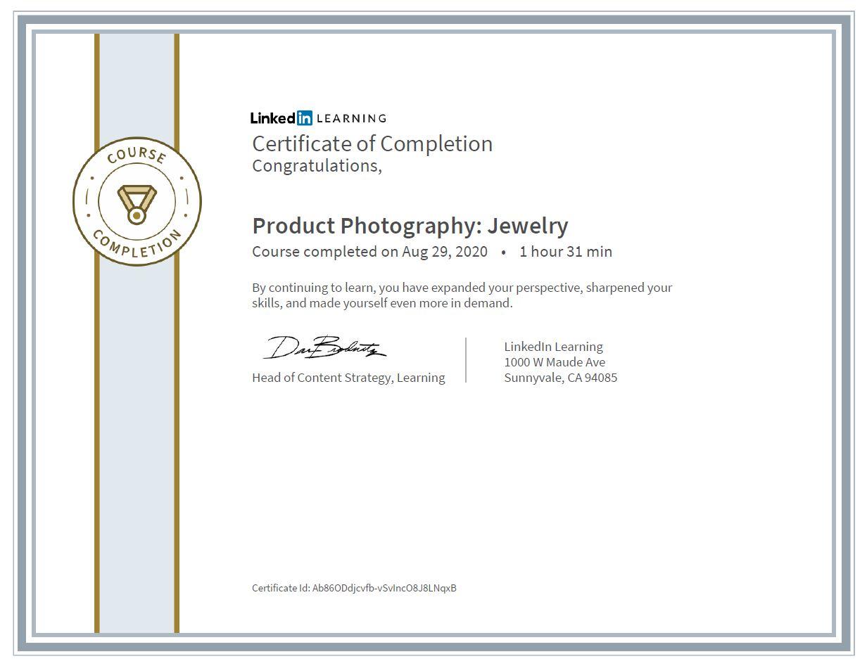 """Meine Abschlussbescheinigung für den Kurs """"Product Photography: Jewelry"""""""