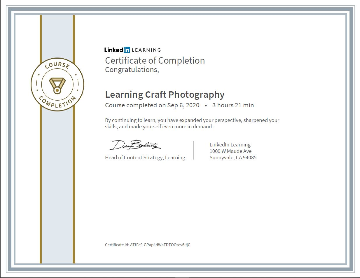 """Meine Abschlussbescheinigung für den Kurs """"Learning Craft Photography"""""""