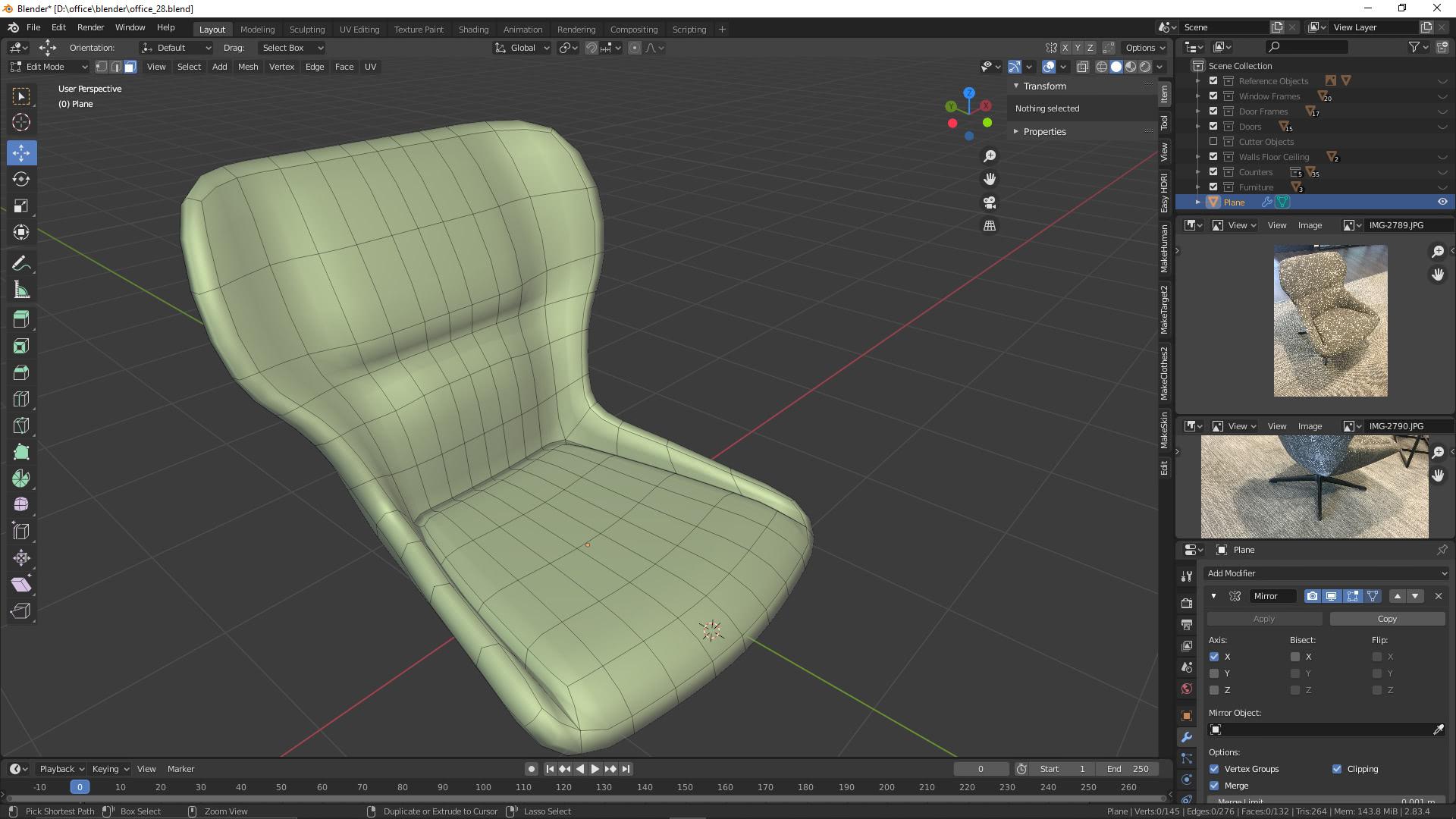 Visualisierung: Sessel 3D Visualisierung mit Blender