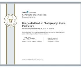 """Meine Abschlussbescheinigung für den Kurs """"Douglas Kirkland on Photography: Studio Portraiture"""""""