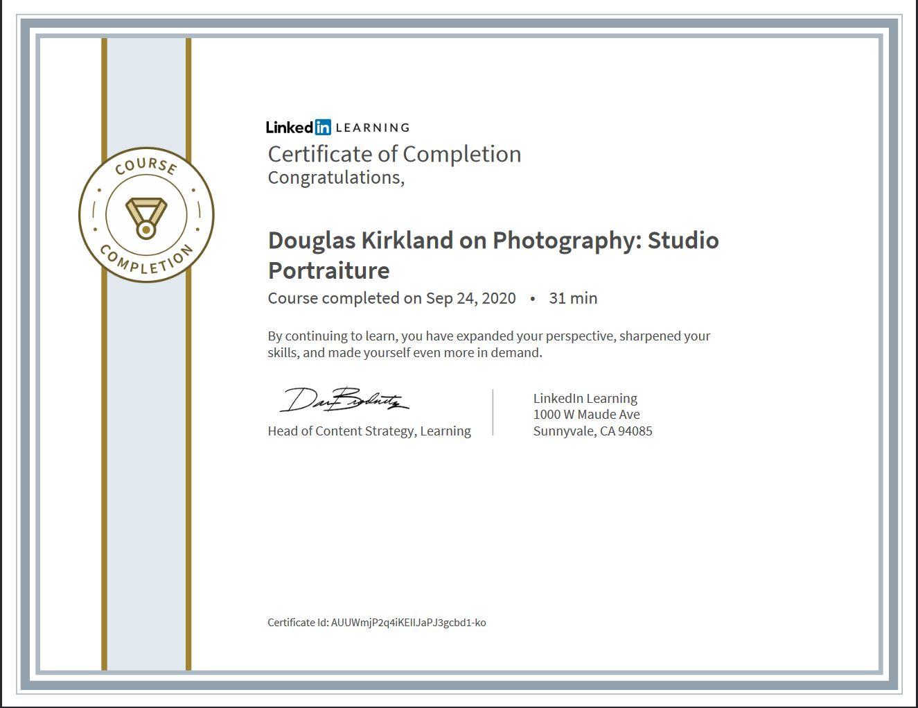 """Meine Abschlussbescheinigung für den Kurs """"Douglas Kirkland on Photography: StudioPortraiture"""""""