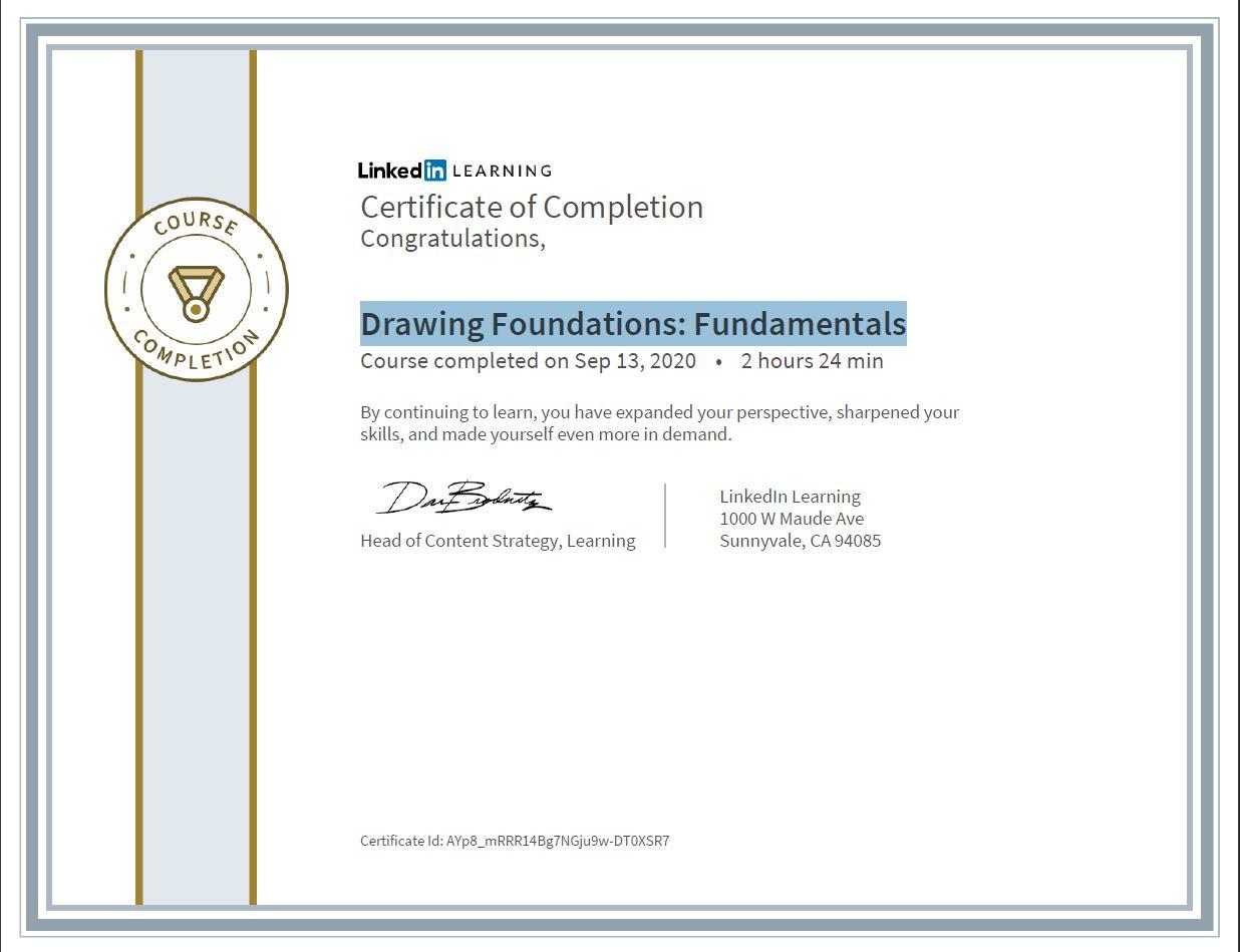 """Meine Abschlussbescheinigung für den Kurs """"Drawing Foundations: Fundamentals"""""""