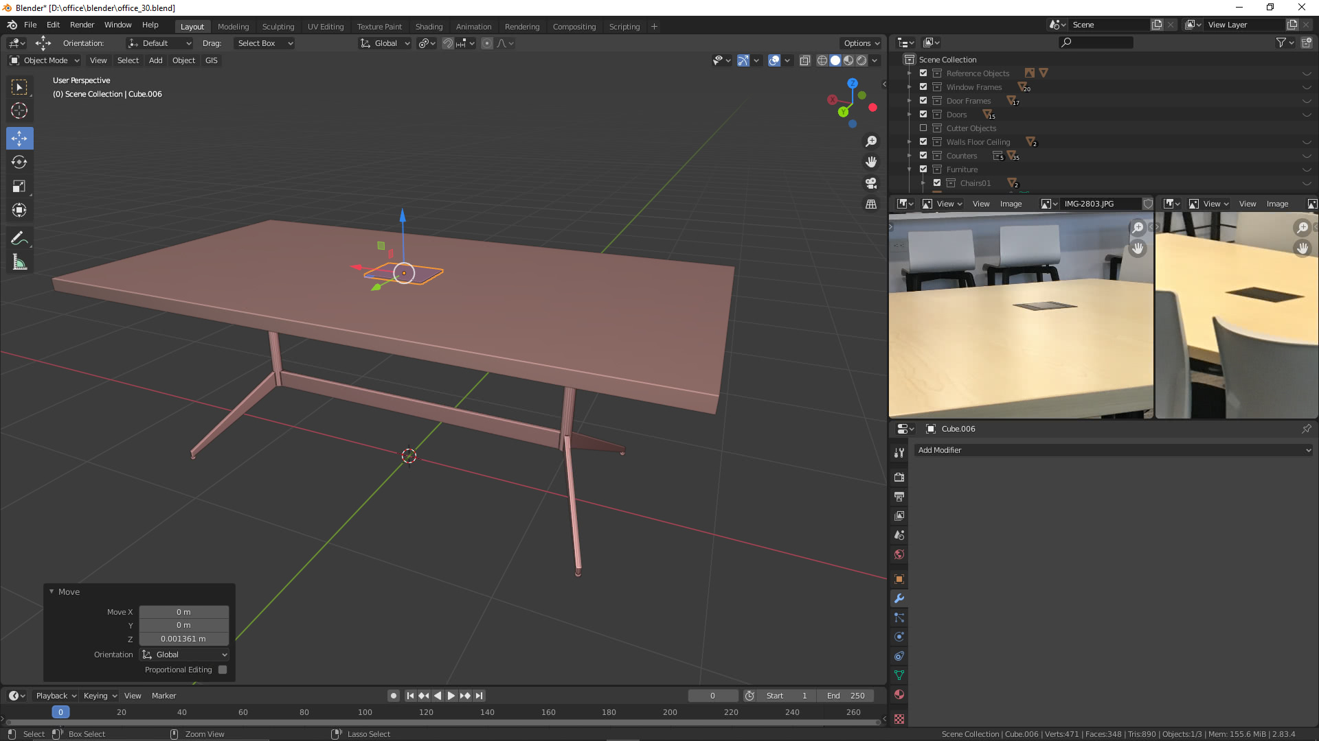 Schreibtisch in Blender
