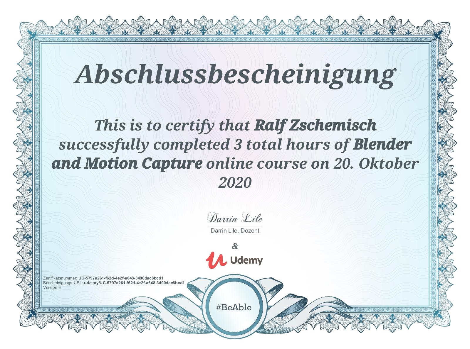 """Abschlussbescheinigung für """"Blender and Motion Capture"""""""