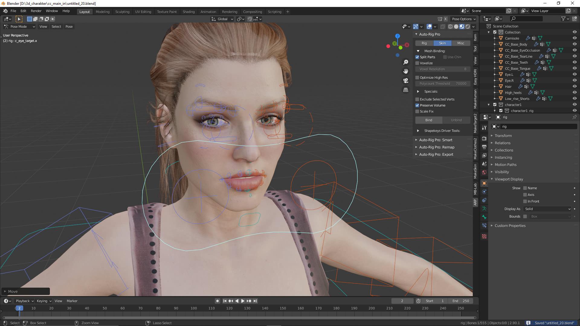 Der 3D-Charakter soll die Augen bewegen können
