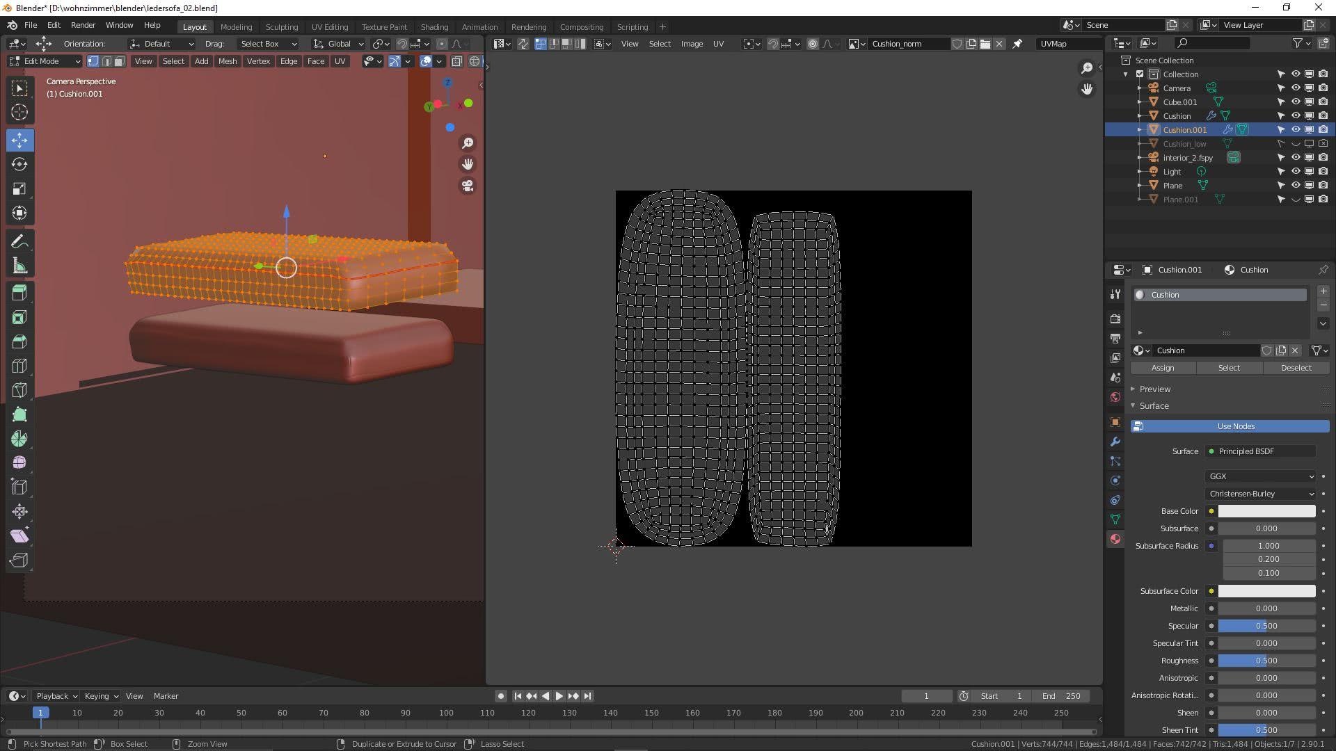 Teil 2: Ledersofa in Blender