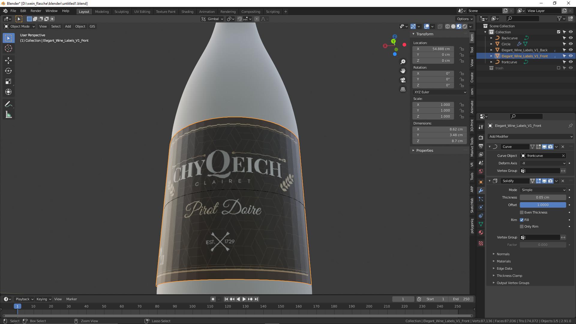 Blender: Weinflasche