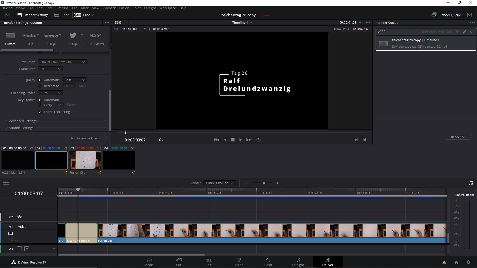 Mein Video hat jetzt einen Titel.