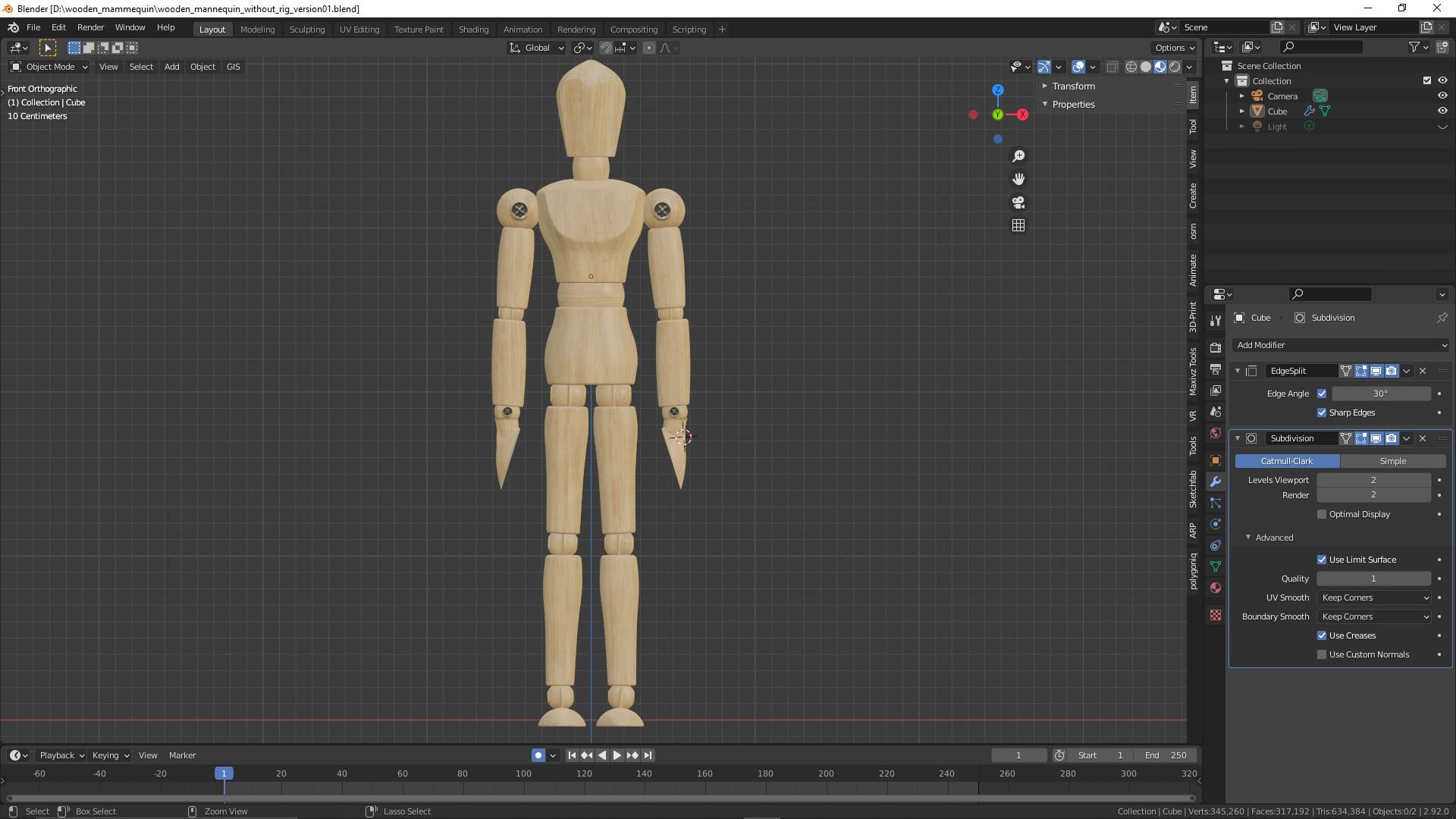 Wooden Mannequin / Gliederpuppe ohne Rig und ohne Animation
