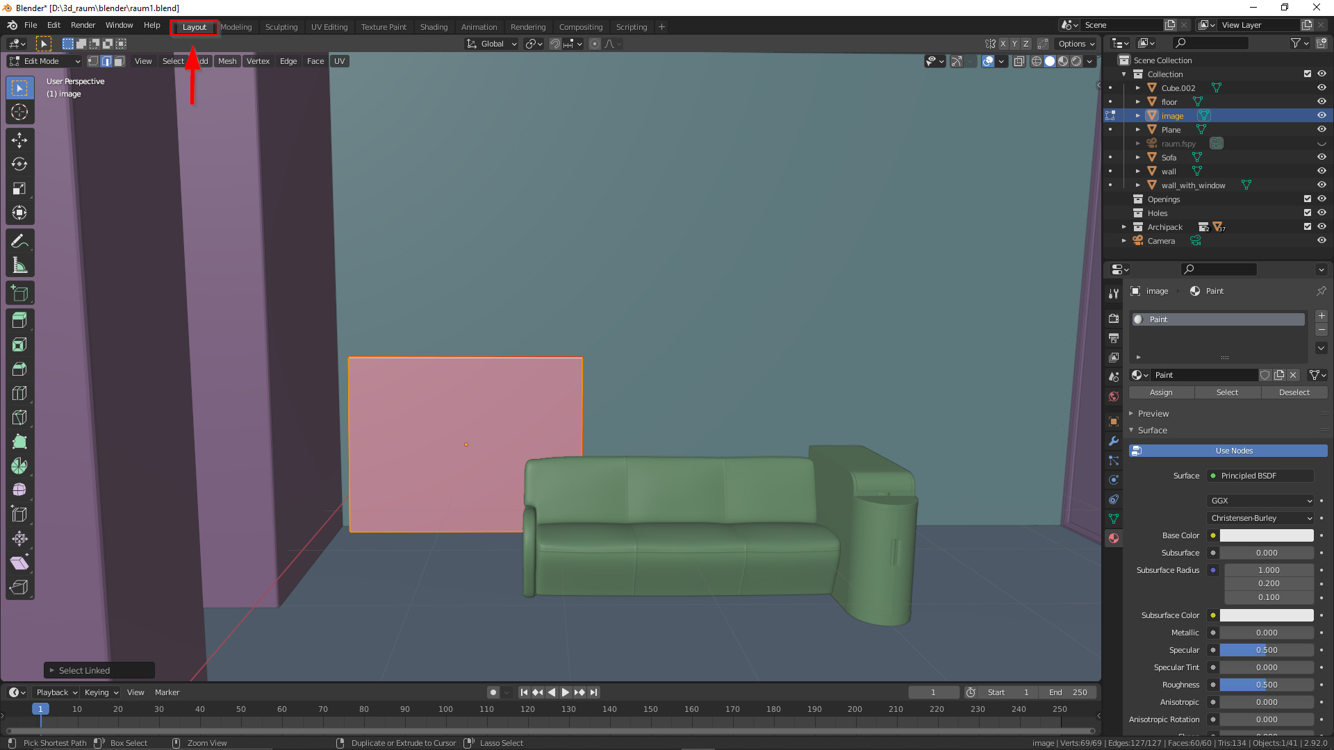 Objekt auswählen im Edit Mode