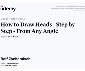 """Meine Abschlussbescheinigung für den Kurs """"How to Draw Heads – Step by Step – From Any Angle"""""""