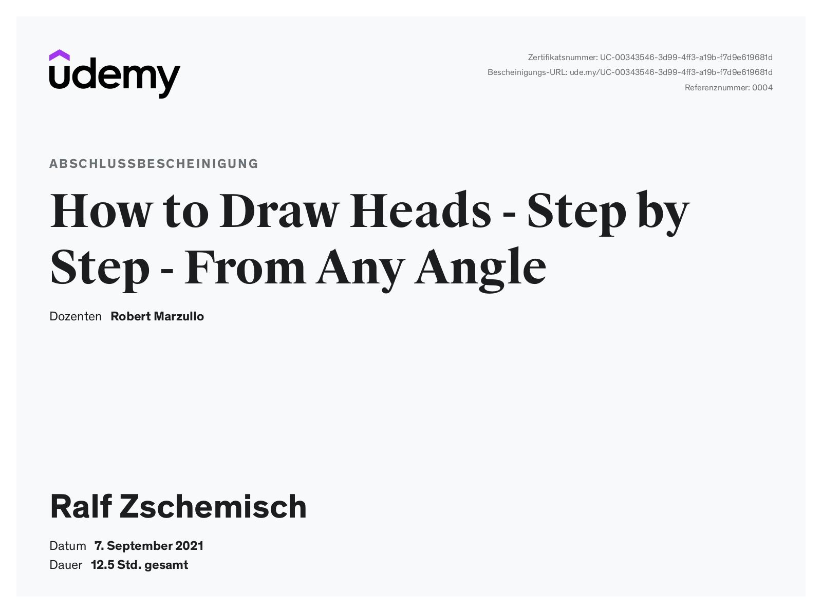 """Meine Abschlussbescheinigung für den Kurs """"How to Draw Heads - Step by Step - From Any Angle"""""""